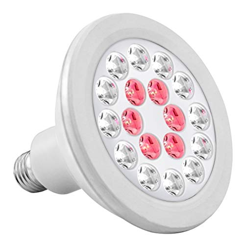 iPower 24W Full-Spectrum 18 LED Grow Light Bulb for Indoor, Grow Tent Plant Growing and Flowering, IP65 Waterproof