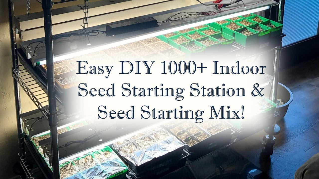 How to Build a Cheap & Easy DIY Seed Starting Station w/Grow Lights (& DIY Soil Starting Mix Recipe)